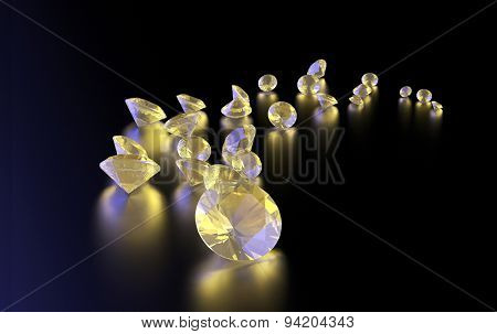 Jewelry diamond collection on dark  background