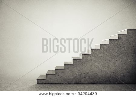 concrete stairs over grey background