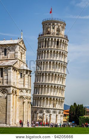 Leaning Tower of Pisa in Tuscany, a Unesco World Heritage Site and one of the most recognized and fa