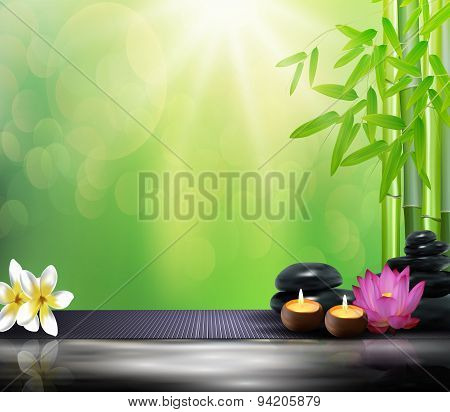 Bamboo, flowers, stone, wax and background on the big stone