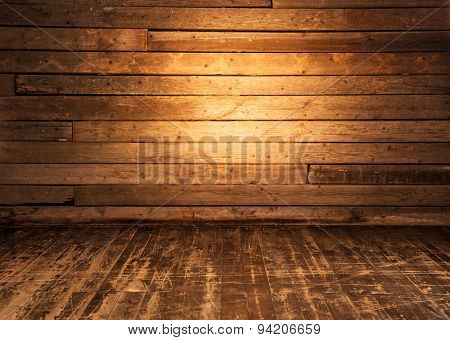 Wooden wall and floor background.