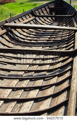 Inside view of old wooden viking boat.