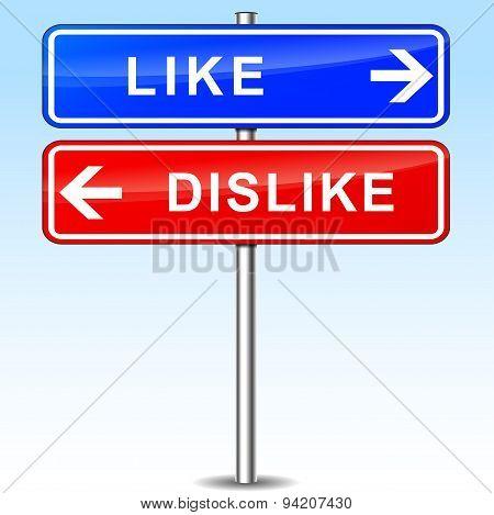 Like And Dislike Sign