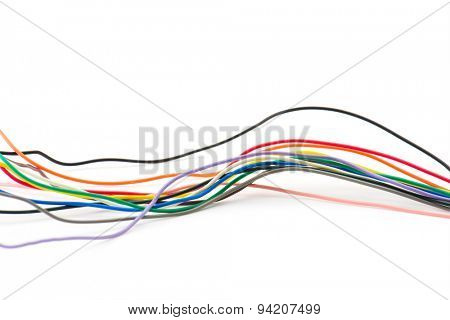 Bundle of thin electronics cables., Isolated on white.