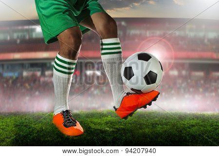 soccer football players on stadium field