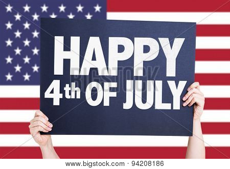 Happy 4th of July card with american flag on background