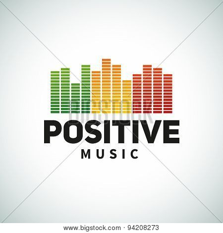 Reggae music equalizer logo emblem vector design. Positive dub illustration