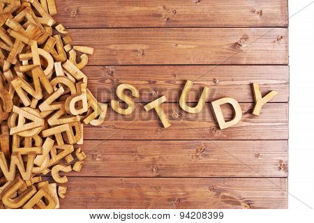 Word study made with wooden letters
