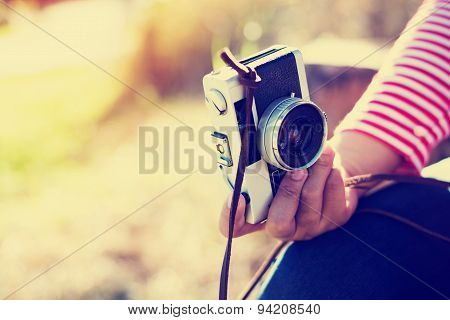 hipster girl photographer