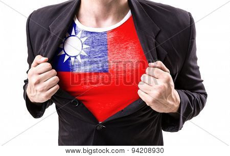 Businessman stretching suit with Taiwan Flag on white background