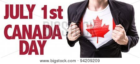 Canada guy with the Canadian flag and the text: July 1st Canada Day