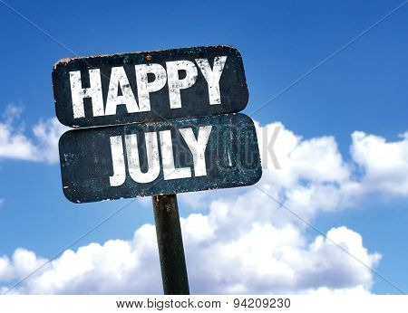 Happy July sign with sky background