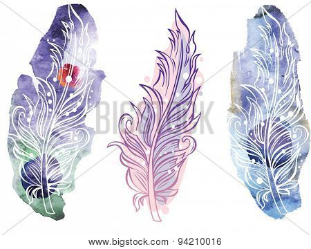 Feather on raster watercolor background