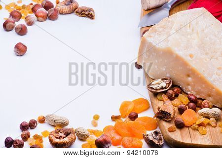 Cheese With Dried Fruits And Nuts