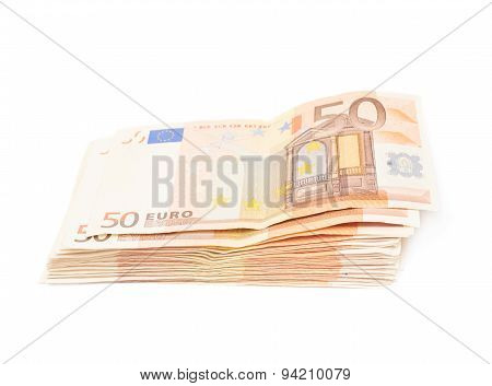 Stack pile of fifty euro bank notes