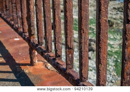 Rusted Fence Closeup