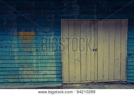 Old Wooden Fence Retro Style
