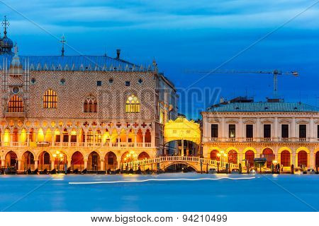 Doges Palace and Ponte dei Sospiri, night, Venice