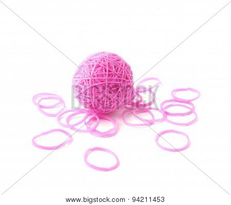 Sphere made of pink rubber loom bands