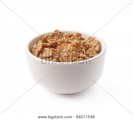 Ceramic bowl filled with cereal flakes