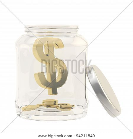 Dollar currency sign in a glass jar