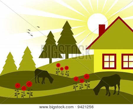 Cottage, Flowers And Grazing Goats