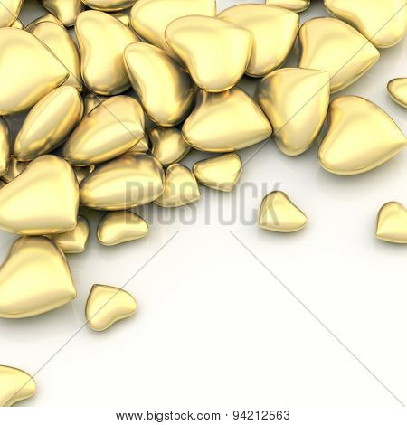 Pile of hearts over a surface