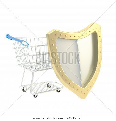 Shopping cart covered with shield isolated