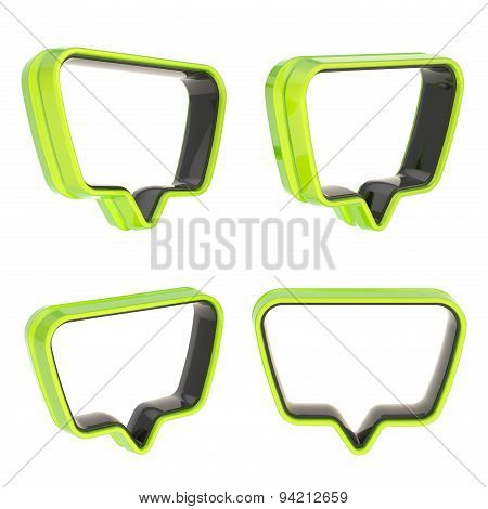 Text bubble shaped frame isolated