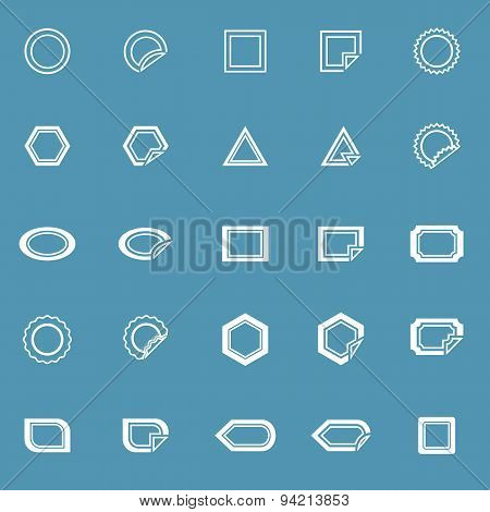 Label Line Icons On Blue Background
