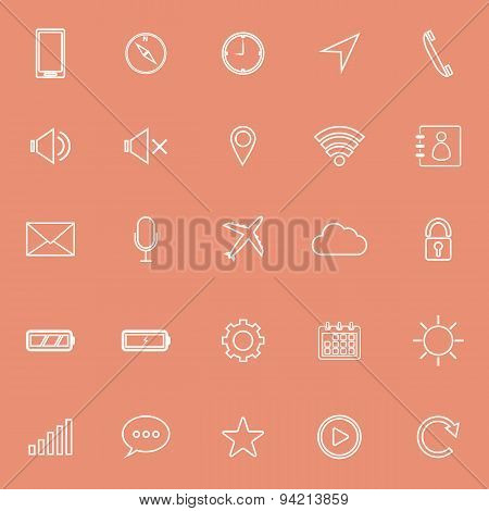 Mobile Phone Line Icons On Orange Background