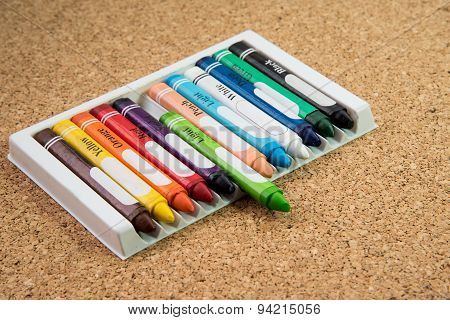Color Drawing Crayons On A Cork Board
