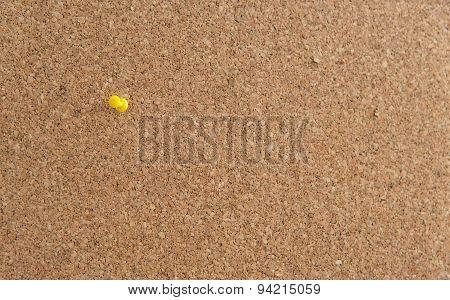 Cork Board With Yellow  Push Pin