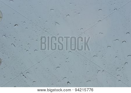 Rain Drops On Glass (window) With A Background