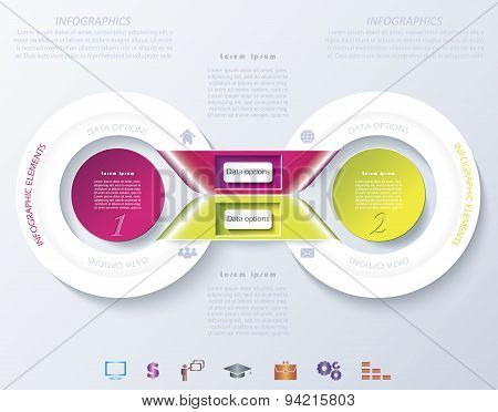 Abstract Infographic Design With Color Circles And Ribbons. Vector Illustration Can Be Used For Web