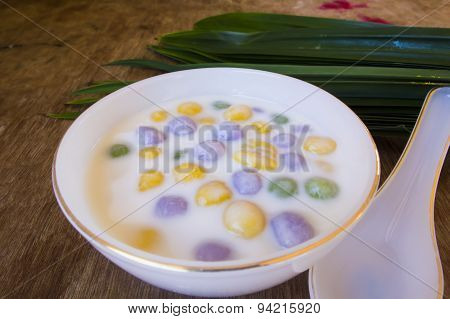 Dumplings In Coconut Cream (bua Loi) On Thai Silk, Dessert Of Thailand.