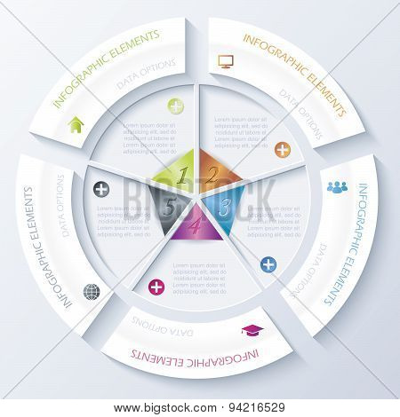 Abstract Infographic Design With Circle And Five Segments. Vector Illustration Can Be Used For Web D