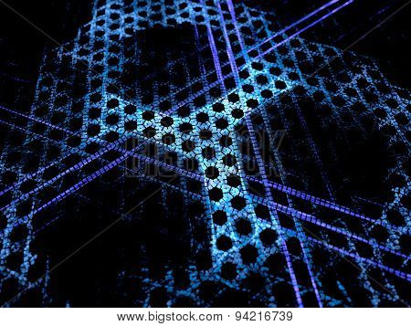 Blue Glowing Microscopic Grid Nanotechnology