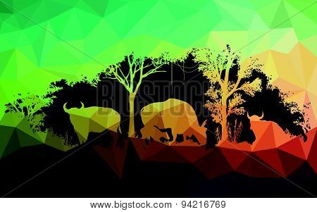 animal of wildlife is bull or gaur or wild ox ,low poly vector design