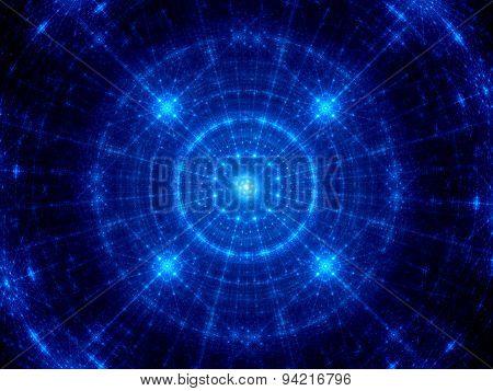 Blue Glowing Futuristic Technology Fractal