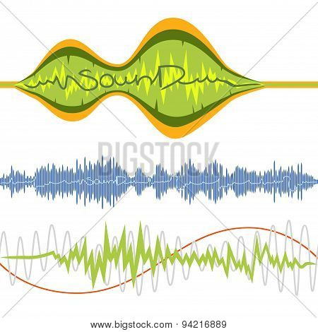 Set Of Isolated Vector Music Volume Waves