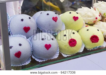 Thailand Cartoons Steamed Bun Stuffed With Egg Yolk And Crab Stock Photo