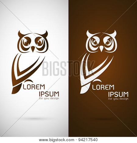 Vector Image Of An Owl Design On White Background And Brown Background, Logo, Symbol