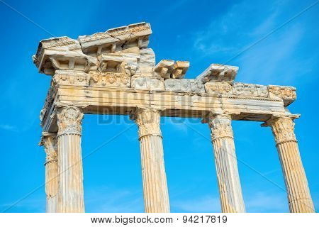 Part Of Construction Ancient Ruins Apollo Temple Roman Empire, Side, Turkey