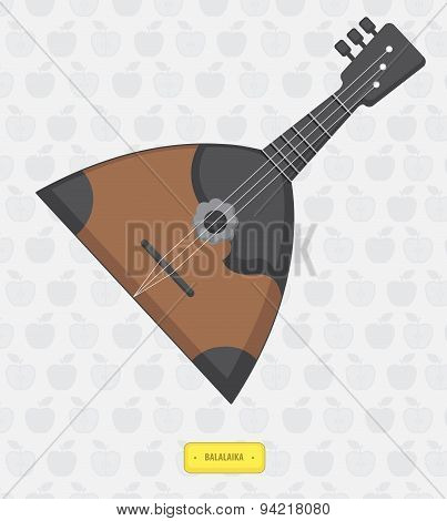 Russian Balalaika With Seamless Pattern Of Apples