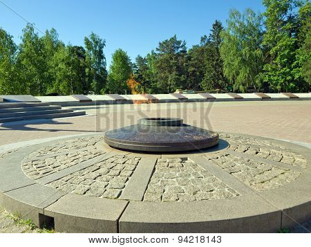 The eternal flame at the monument