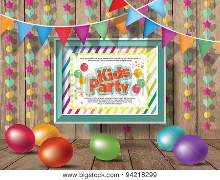 Kids Party design template.  Happy birthday