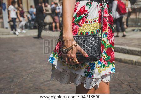 Detail Of Bag Outside Missoni Fashion Show Building For Milan Men's Fashion Week