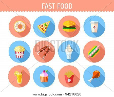 Flat Fast Food  Icons