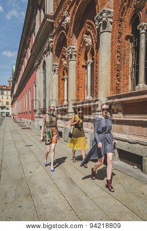 People Outside Missoni Fashion Show Building For Milan Men's Fashion Week